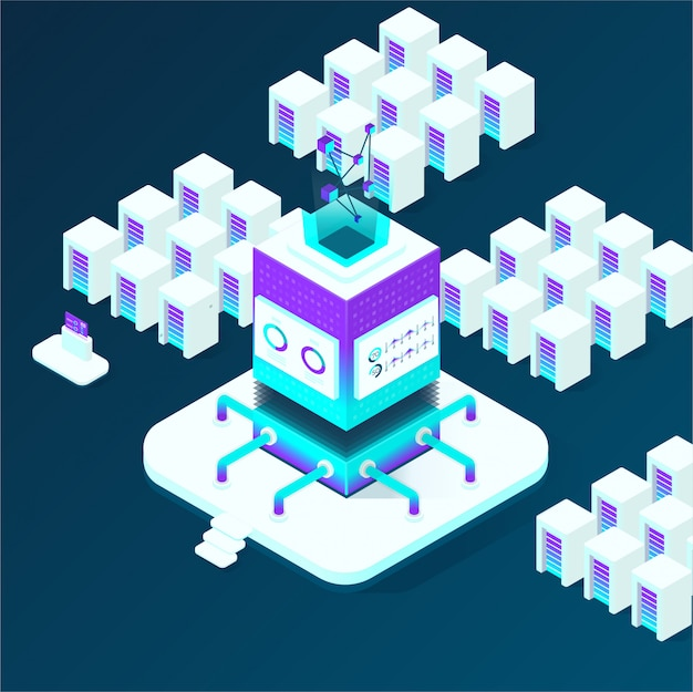 Cryptocurrency and blockchain isometric composition, analysts and managers working on crypto start up, data analysts