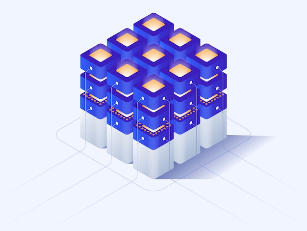 Cryptocurrency and blockchain isometric composition, crypto start up.