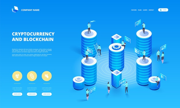 Cryptocurrency and blockchain isometric composition with people, analysts and managers working on crypto start up. isometric  illustration.