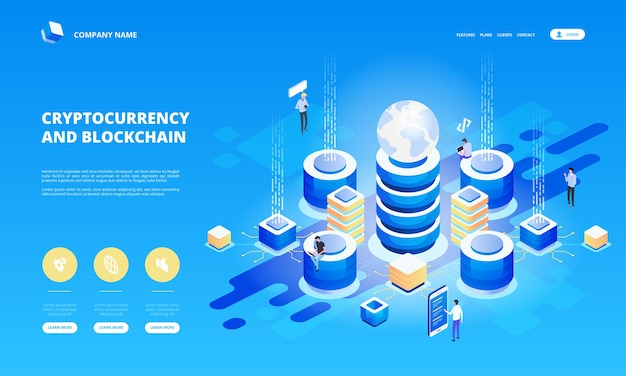 Cryptocurrency and blockchain isometric composition with people