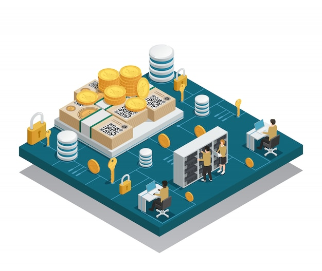Cryptocurrency and blockchain isometric composition