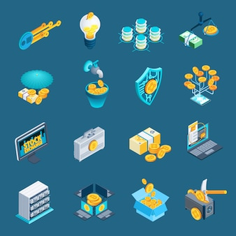 Cryptocurrency blockchain isometric icons