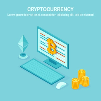 Cryptocurrency and blockchain. mining bitcoins. digital payment with virtual money, finance