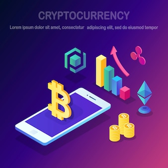 Cryptocurrency and blockchain. mining bitcoins. digital payment with virtual money