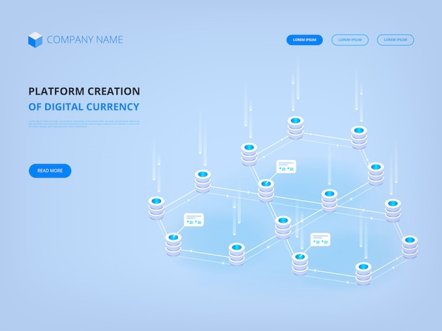 Cryptocurrency and blockchain, platform creation of digital currency banner landing page