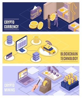 Cryptocurrency and blockchain technology isometric  illustration