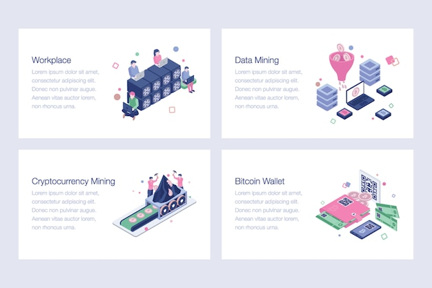 Cryptocurrency and blockchain vector illustrations