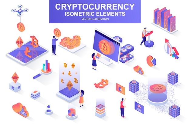Набор криптовалюты изометрических элементов иллюстрации
