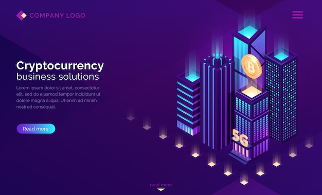 Cryptocurrency business solution isometric landing