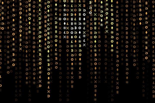 Кодирование криптовалюты цифровой фон вектор концепция блокчейна с открытым исходным кодом