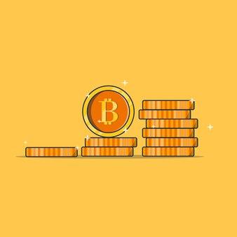 Cryptocurrency 동전 스택 디자인 그림 격리 된 개체 디자인 프리미엄 개념