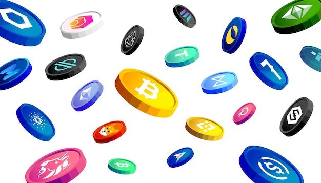 Cryptocurrency 동전 배너 개념입니다. 떨어지는 디지털 돈.