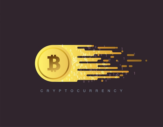 Cryptocurrency concept. golden coin with bitcoin sign. flat illustration with blockchain technology based crypto currency.