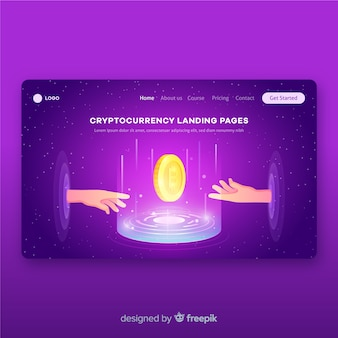 Cryptocurrency concept landing page template