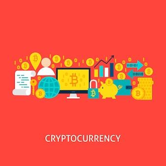 암호 화폐 개념. 포스터 디자인 벡터 일러스트 레이 션. bitcoin 다채로운 개체의 집합입니다.
