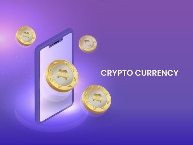 Концепция криптовалюты с 3d-смартфоном и золотыми биткойнами на фиолетовом фоне.