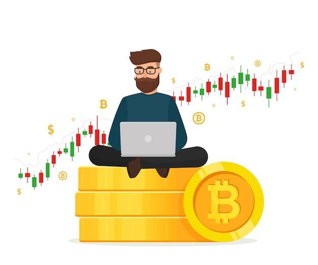 暗号通貨の概念。ゴールデンスタックに座っている若い男は、ラップトップとトレーディンググラフ図でコインを積みます。