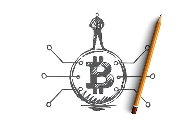暗号通貨、デジタル、金融、コインの概念。手描きの男はビットコインの概念スケッチに立っています。