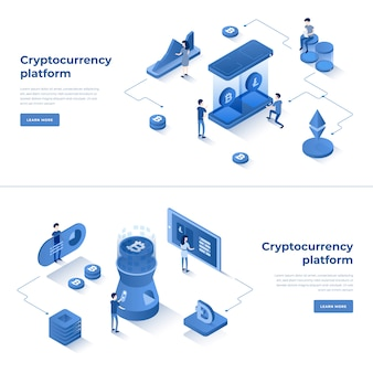 Cryptocurrency exchange and blockchain isometric composition