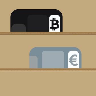 暗号通貨交換の概念。ウォレットには、暗号通貨と通貨用のプラスチックカードがあります