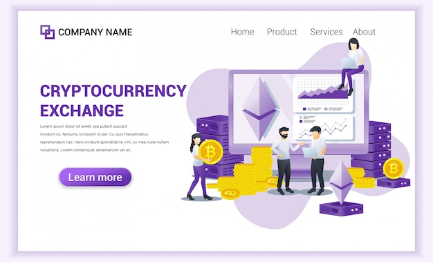 Cryptocurrency exchange concept with people working on computer screen for exchange of bitcoin and digital currencies