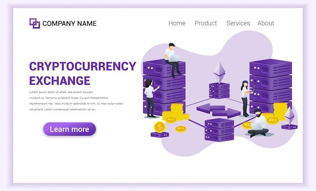 Концепция криптовалютного обмена с людьми, работающими на ноутбуке и сервере для обмена биткойнов и цифровых валют