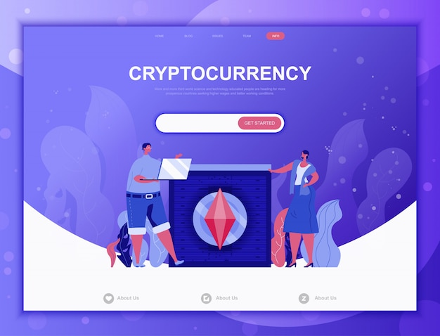 Cryptocurrency exchangeフラットコンセプト、ランディングページwebテンプレート