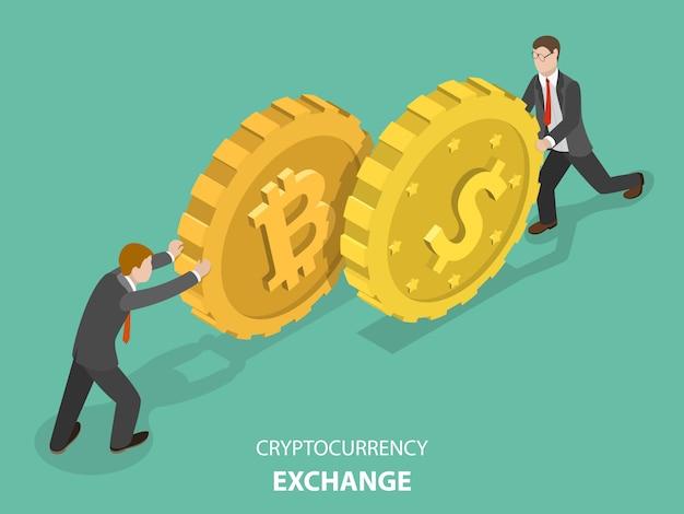 Cryptocurrency exchange flat isometric .