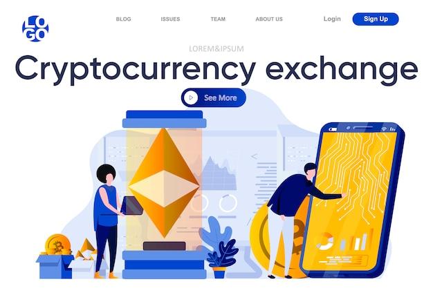 暗号通貨交換フラットランディングページ。オンラインのデジタルマネーマーケット、為替と取引のイラストのモバイルソリューション。人のキャラクターを使ったブロックチェーン技術のウェブページ構成