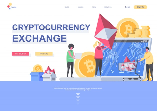 Cryptocurrency exchange flat landing page template. digital money market, exchange and trading situation. web page with people characters. cryptocurrency and blockchain technology illustration.