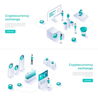 Cryptocurrency exchange isometric composition.