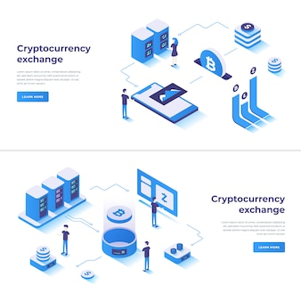 Cryptocurrency exchange isometric composition
