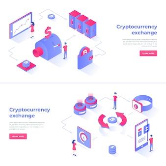 Cryptocurrency exchange isometric composition