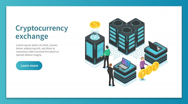Cryptocurrency exchange landing page. people mining, exchanging crypto platform. online payment marketplace isometric
