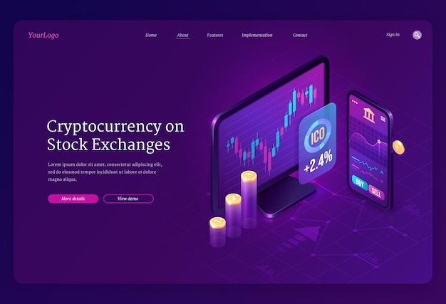 暗号通貨交換市場のアイソメトリックランディングページ。トレーディングチャート付きのデジタルマネーマイニング、コンピューター、スマートフォンの画面
