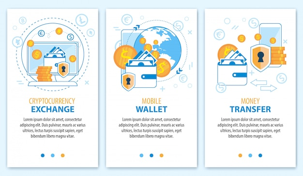 Cryptocurrency exchange. mobile wallet. money transfer banner set.