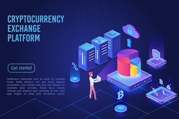Cryptocurrency exchange platform dark neon light landing page