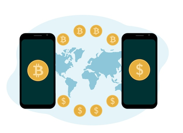 Cryptocurrency exchange and storage concept. mobile with cryptocurrency and coins illustration. vector illustration
