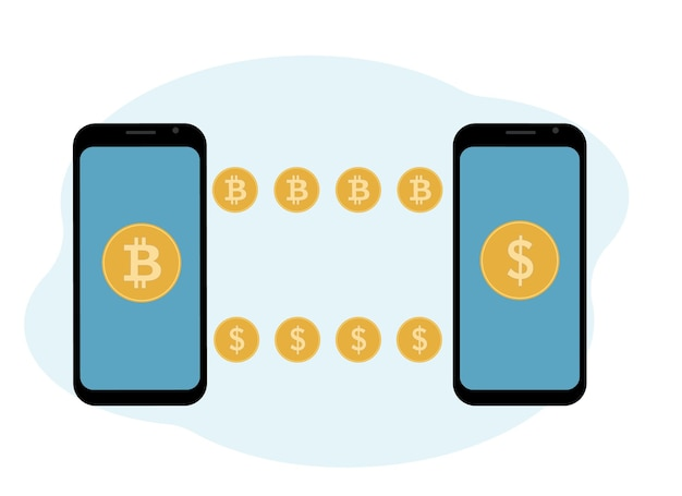 Cryptocurrency exchange and storage concept. mobile with cryptocurrency and coins illustration.