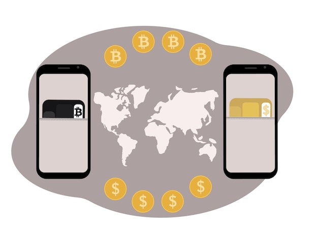 Cryptocurrency exchange and storage concept. mobile with illustration of plastic cards for cryptocurrency and currency.