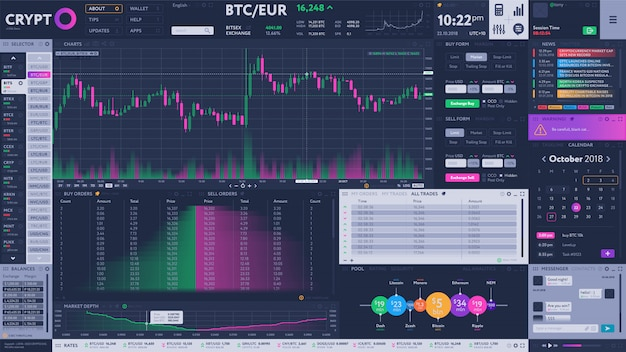 Cryptocurrency exchange terminal interface