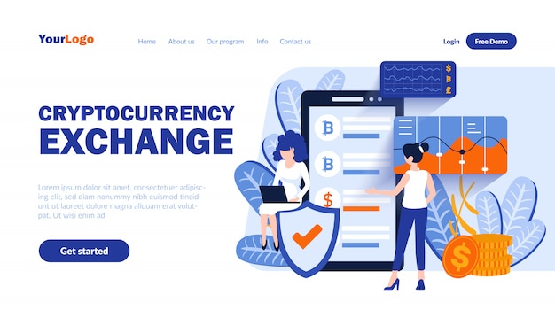 Cryptocurrency exchange vector landing page  with header