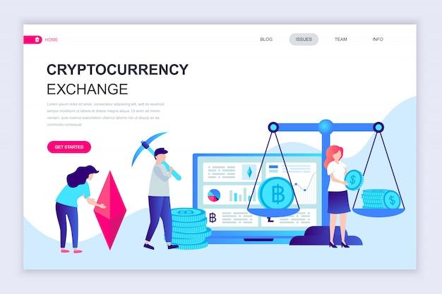 Cryptocurrency exchangeの最新のフラットなwebページデザインテンプレート