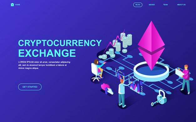 Cryptocurrency exchangeの現代フラットデザイン等尺性概念