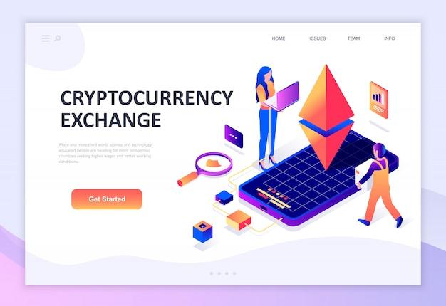Cryptocurrency exchangeのモダンなフラットデザイン等尺性概念