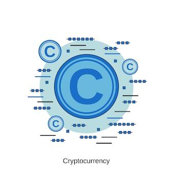 暗号通貨フラットデザインスタイルベクトル概念図