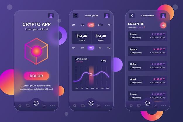 Cryptocurrency glassmorphic design neumorphic elements kit for mobile app ui ux gui screens set