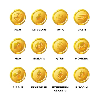 Cryptocurrency gold coins with bitcoin, litecoin ethereum symbols vector set