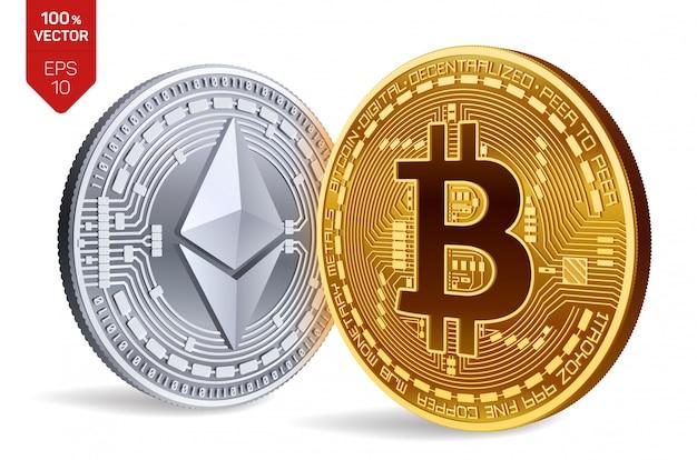 Криптовалюта золотые и серебряные монеты с символом биткойн и эфириум, изолированные на белом фоне.