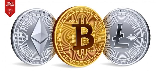 Криптовалюта золотые и серебряные монеты с биткойн, litecoin и символом ethereum на белом фоне.
